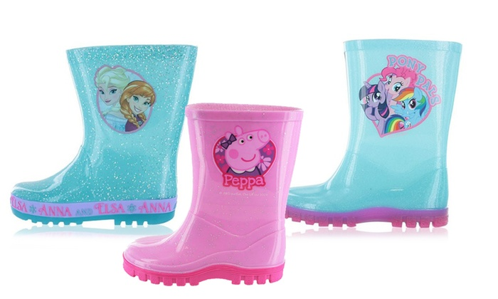 Frozen Amapola Blue Glitter Flashing Sole Wellies UK Size 10 ev6JP3