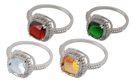 Cushion Cut Birthstone Ring with Swarovski Elements Crystal
