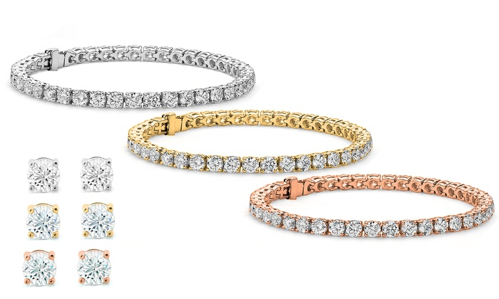 01f482e359ea Stud Earrings and Tennis Bracelet Set Made with Swarovski Elements by  Elements of Love