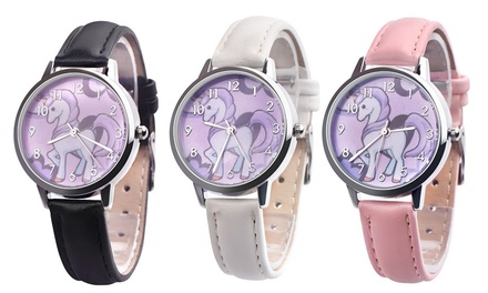 Kids' Unicorn Print Dial Watch