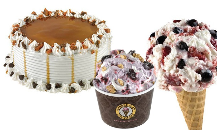 Marble Slab Creamery Fresno - Woodward Park: Ice Cream or One Dozen Cupcakes or Slabwiches at Marble Slab Creamery (Up to 50% Off)