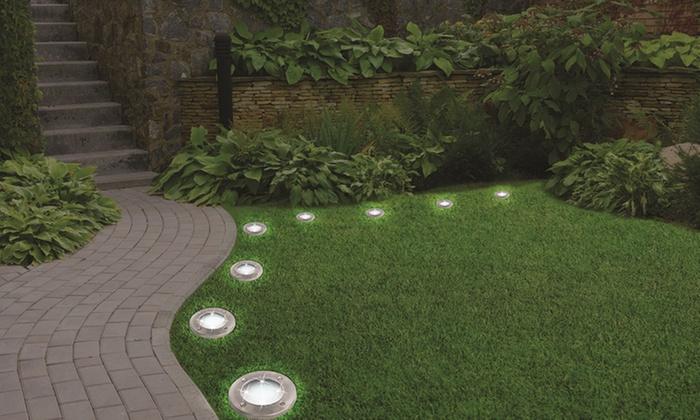 Bell + Howell Solar Powered LED Garden Disk Lights Set   As Seen On TV ...
