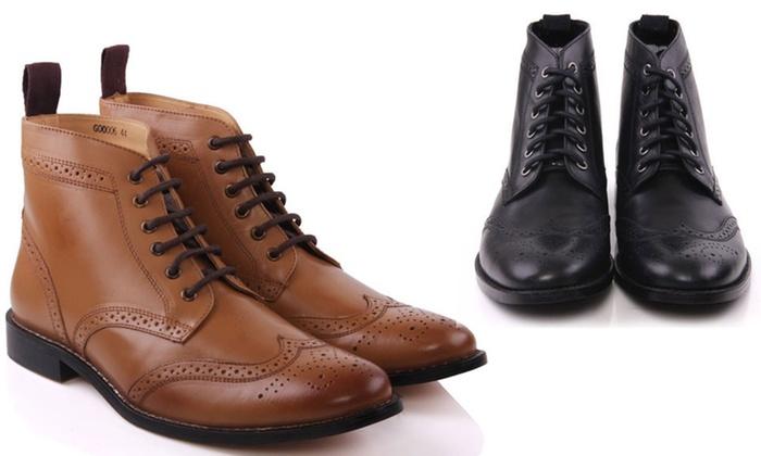 Taylor Men's Textile Lace-Up Brogue Ankle Boots