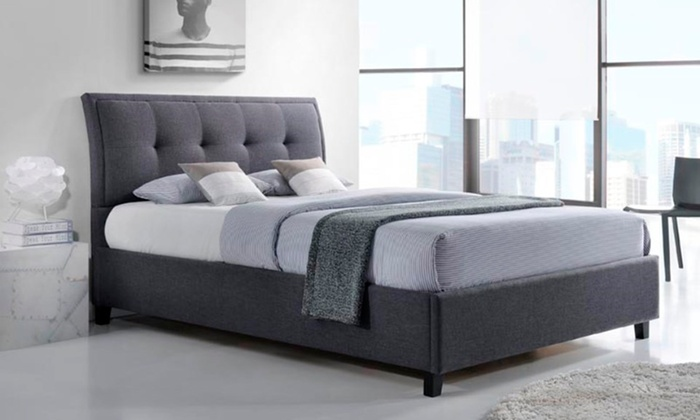 Lea queen size fabric upholstered storage platform bed for Beds groupon