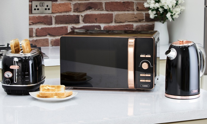 Tower Rose Gold 20l Digital Microwave Rapid Boil Kettle And Two Slice Toaster Set