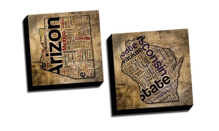 """16""""x16"""" Grunge State Typography Canvas: 16""""x16"""" Grunge State Typography on Canvas. Multiple States Available. Free Returns."""