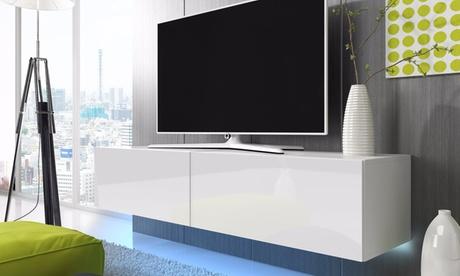 Zwevend tv meubel, model en afmeting naar keuze met blauw of rood LED vanaf € 99