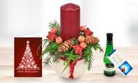 Festliches Adventsgesteck mit Lindt Schokolade, Piccolo Perlwein und Grußkarte von Bluvesa (36% sparen*)