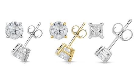 1.50 CTTW Certified Princess or Round Cut Diamond Studs in 14K Gold by Diamond Affection