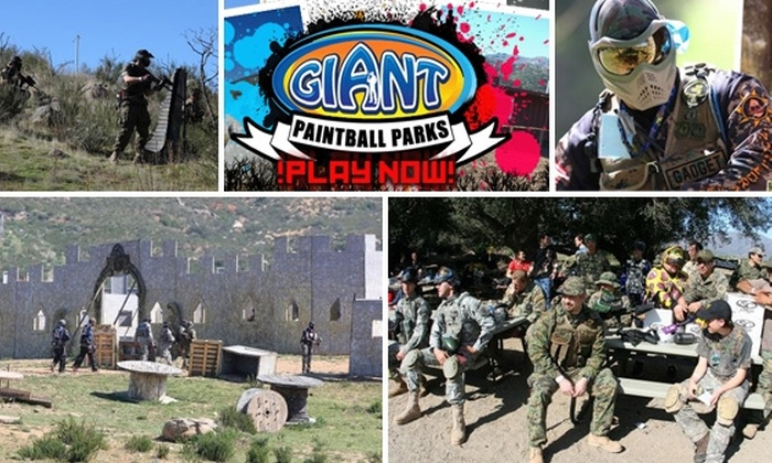 Giant Paintball - Multiple Locations: $20 for One Full Day at Giant Paintball, Including Gun, Mask, Air, and 200 Paintballs ($76.50 Value)
