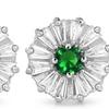 Lab-Created Emerald Flower Shape Stud Earrings By MUIBLU Gems