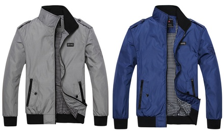 Mens Contrast Collar Harrington Jacket