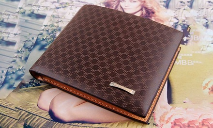 Men's Brown Patterned Wallet in High Quality PU Leather