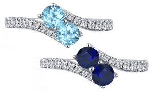 Gemma Luna Genuine Gemstone 2.50 CTTW Eternal Ring in Sterling Silver