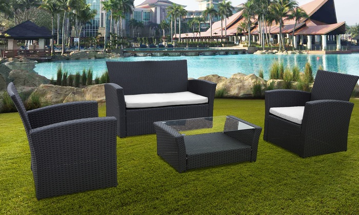 Four-Piece PE-Rattan Furniture Set from £169