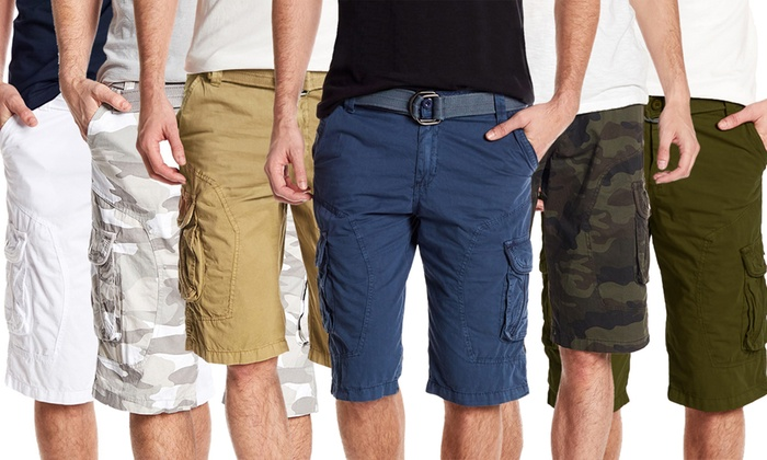 dcb3a0f702 Xray Jeans Men's Belted Casual Relaxed Fit Cargo Shorts - 14