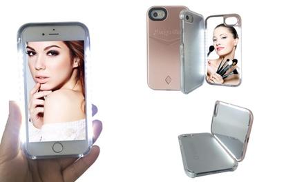 Funda para iPhone con espejo y luz LED