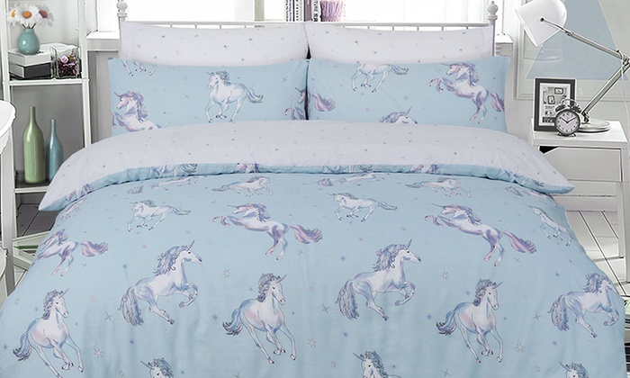 Unicorn Dream Reversible Duvet Set in Choice of Size and Colour from £10