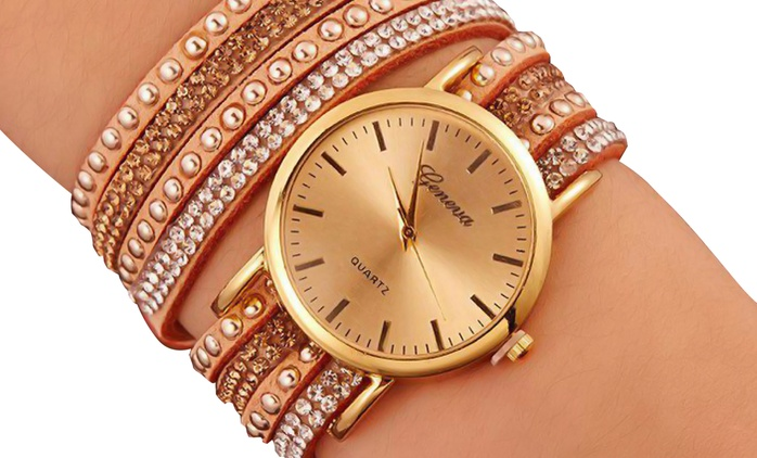 Geneva Faux Suede Wrap-Around Watch 4/16 PX2 in Choice of Colours for AED 49 (Up to 23% Off)