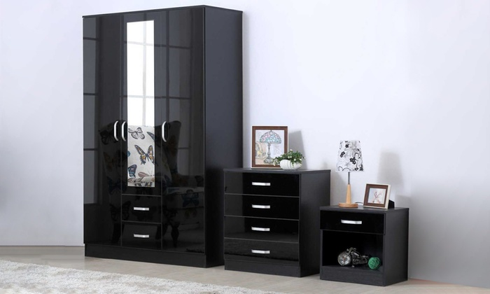 Three-Piece High Gloss Bedroom Furniture Set from £259.98