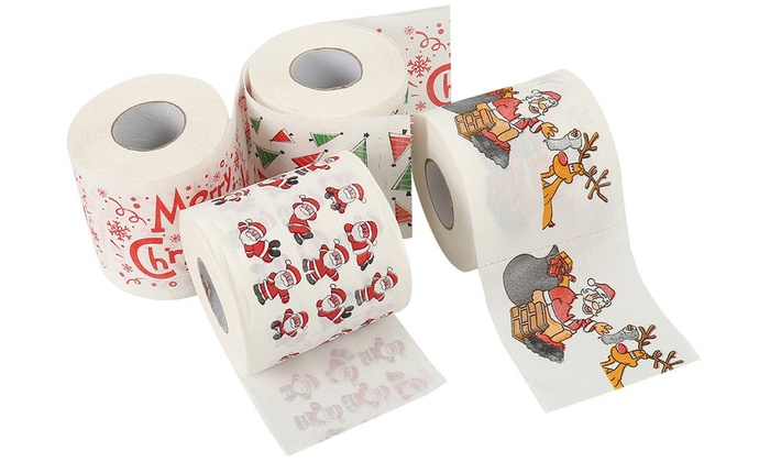 Up To Eight Festive-Themed Toilet Rolls Christmas - Santa, Merry Christmas, Tree and Santa Claus Designs