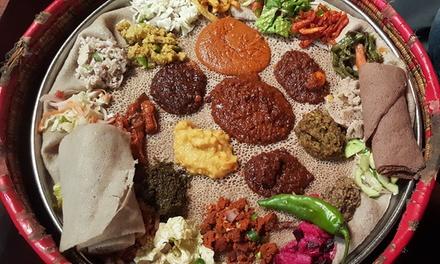 Ethiopisch tweegangen keuzediner bij Ethiopisch Restaurant Eindhoven (vanaf 2 personen)
