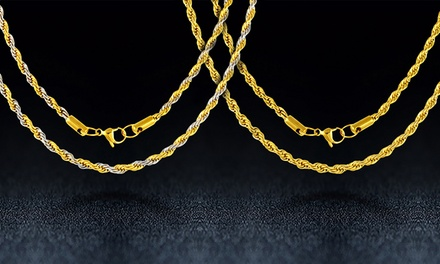 Mens Stainless Steel Italian Rope Chain Necklace