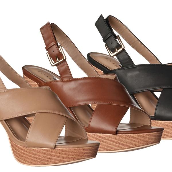 26227cf2a8 Riverberry Women's Maya Faux-Leather Chunky-Heel Platform Sandals ...