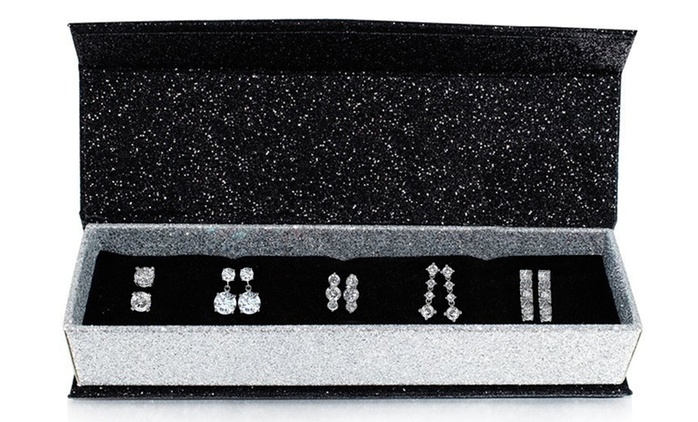 $34 for a Box of Five Days Earrings with Crystals from Swarovski® and 18ct White Gold-Plating (Don't Pay $178.11)