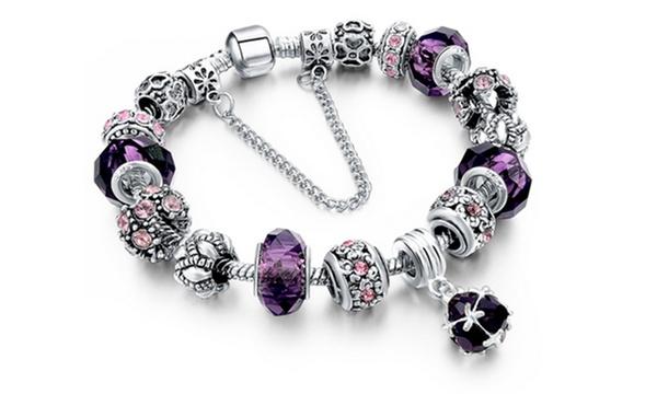 Bracelet Charms plaqué argent et orné de cristaux swarovski®