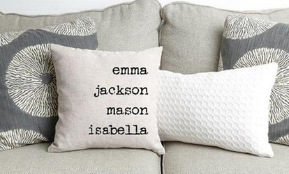 One, Two, Three, Five, or Ten Personalized Family Name Throw Pillow Covers from Qualtry (Up to 80% Off)