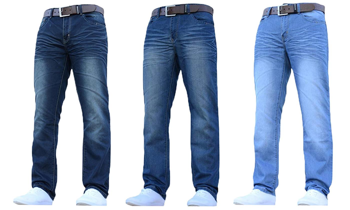 Crosshatch Men's Straight Jeans with Belt