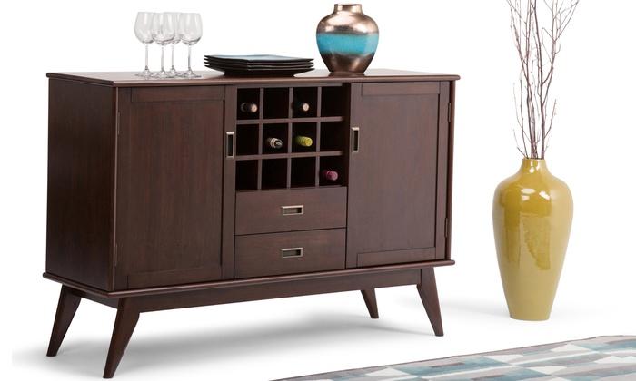 modern wine cabinet simpli home buffet and wine rack groupon goods