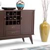 Simpli Home Draper Mid-Century Modern Sideboard Buffet and Wine Rack