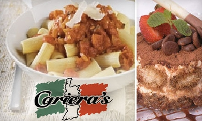Cariera's Cucina Italiana - Multiple Locations: $15 for $30 Worth of Italian Fare and Drinks at Cariera's Cucina Italiana