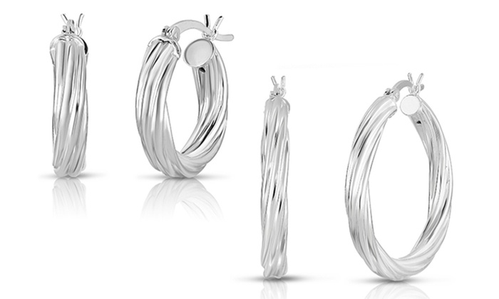 1a174efd5 Up To 79% Off on Sterling Silver Hoops by Verona | Groupon Goods
