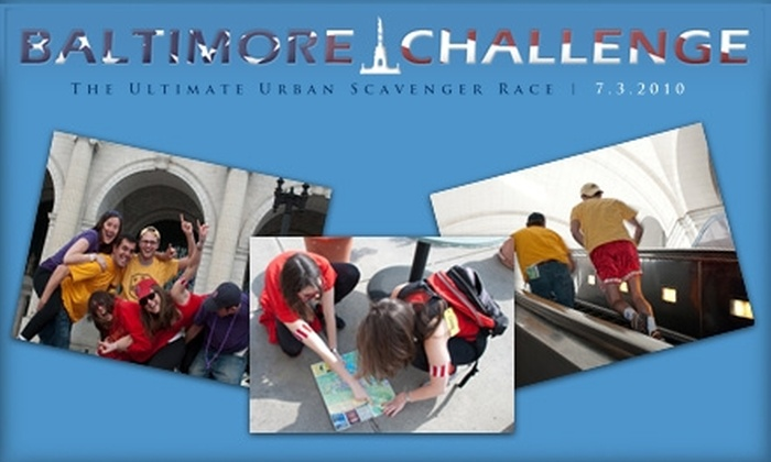 Baltimore Challenge - Downtown: $25 to Participate in the Baltimore Challenge Ultimate Urban Scavenger Race ($70 Value)