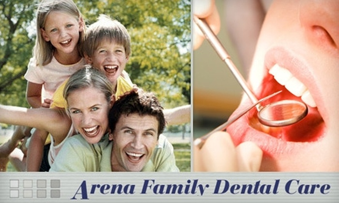 Arena Family Dental Care - Natomas Crossing: Dental Exam, X-rays, and Basic Cleaning at Arena Family Dental Care. Choose an Adult Visit for $54 or a Child Visit for $44.