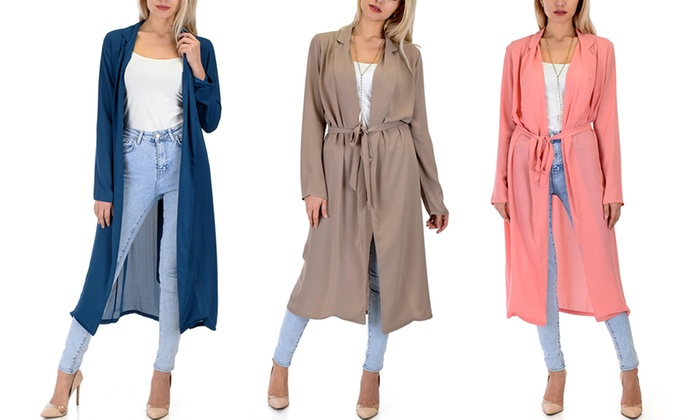 Lyss Loo Women's Contemporary Belted Sheer Spring Cardigan