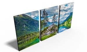Photo Gifts: Trittico di tele con stampa personalizzata, disponibile in 4 dimensioni, con Photo Gifts (sconto fino a 84%)