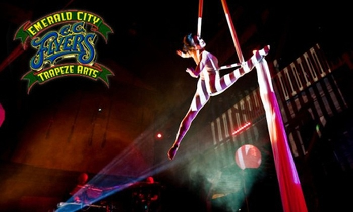 Emerald City Trapeze - Industrial District East: $18 for One Ticket to a Mardi Gras Party from Emerald City Trapeze at the Aerialdrome ($35 Value)