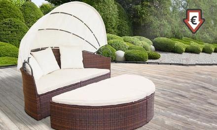 Tumbonas de ratán sintético con techo solar y opción a mesa desde 369,90€