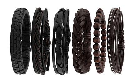 Mens Braided Bracelet Set