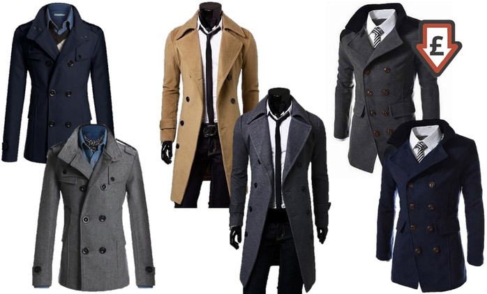 Men's Smart Double Breasted Coat for £23.99