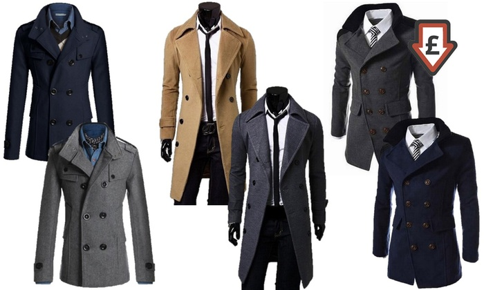 wide selection of designs promo codes sneakers Men's Smart Double-Breasted Coats   Groupon Goods