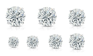 3-10MM Round Cut Cubic Zirconia Stud Earrings in Sterling Silver