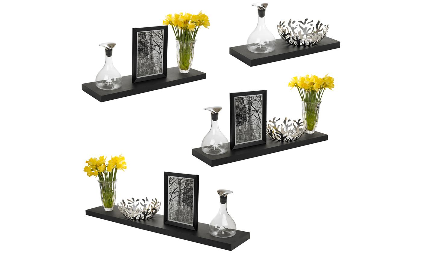One, Two or Three Wooden Floating Wall-Mountable Display Shelves in Choice of Colour and Size from £9.98 (20% OFF)