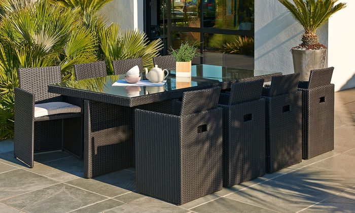 salon de jardin en r sine tress e haut de gamme encastrable 8 places groupon. Black Bedroom Furniture Sets. Home Design Ideas