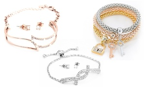 Bijoux bracelet et boucle d'oreille ornés de cristaux Swarovski®