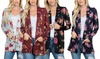 Riah Fashion Women's Floral Hacci Cardigan with Pockets